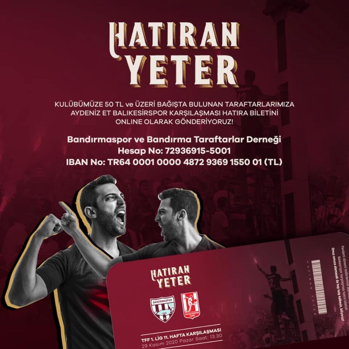 Bandırmaspor dan derbi için hatıra bileti kampanyası