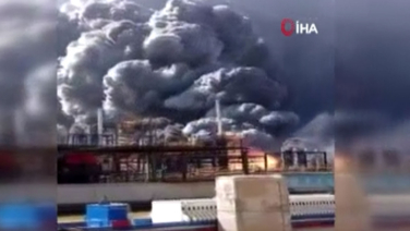 Çin'de fabrikada patlama! Bir anda alevler ve dumanlar yükseldi